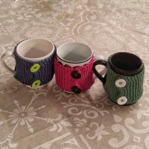 knitting free pattern, mug cover cozy for hot tea and coffee