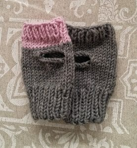 fingerless gloves handmade in grey and pink, so lovely gift idea