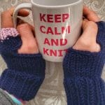 fingerless gloves in blue and pink