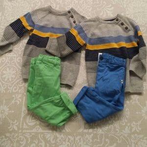 outfit gemelli, pantaloni e maglioncini, buono sconto H&M