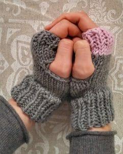 guanti colorati disponibili nuovi colori, grigio con tocco di rosa