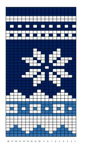schema scalda collo (sciarpa) in bianco, azzurro e blu, con fiocco di neve