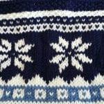 sciarpa, collo, con fiocchi di neve in azzurro, blu e bianco panna